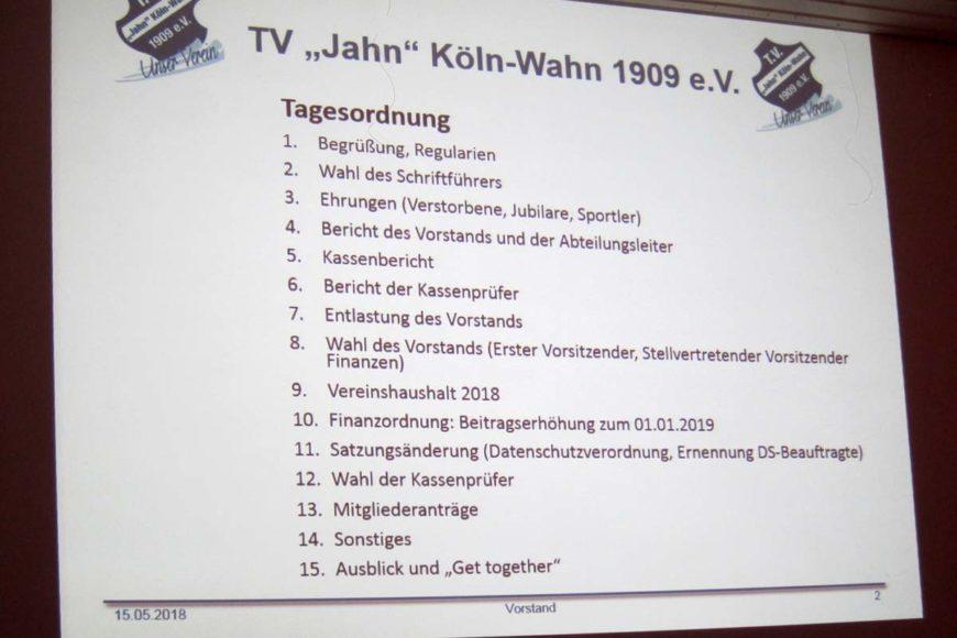 Agenda Mitgliederversammlung TV Jahn Wahn 2018