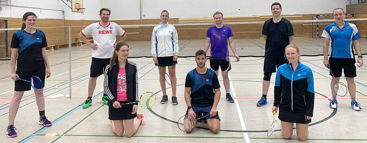 Die TeilnehmerInnen der Badminton-Vereinsmeisterschaften 2020 beim TV Jahn Wahn